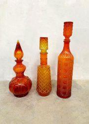 vintage Italiaans glas flessen karaf genie bottles orange oranje red
