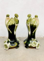 Art Deco ceramic vase vultures Birds hand made porseleinen vaas