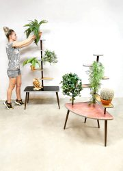 Vintage plant stand fifties sixties red plantenstandaard plantentafel XXL