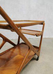 midcentury trolley teak wood Cesare Lacca design trolley serveerwagen