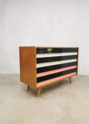 midcentury cabinet Czech design ladekast pink black chest of drawers