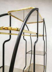 midcentury design brass display bookcase room divider Italian design wandkast etagère