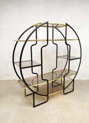 midcentury Italian design brass room divider cabinet kast wandkast