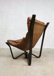 vintage leather chair Jim Myrstad leren fauteuil Brunstad
