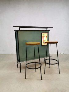 Vintage seventies cocktail bar cabinet incl. barstools liquor bar