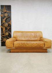 Midcentury design leather sofa loveseat bank De Sede DS-40