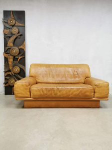 Midcentury design leather sofa loveseat bank De Sede DS-40