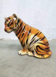 jaren 50 60 keramiek beeld tijger welp handgeschilderd