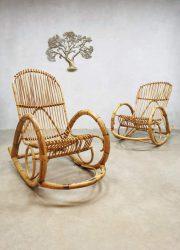 Vintage rattan rocking chair rotan schommelstoel Rohe Noordwolde
