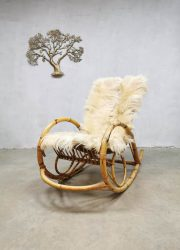 vintage schommelstoel rotan bamboe rocking chair