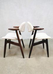 midcentury boucle fabric dining chairs cowhorn Tijsseling Hulmefa