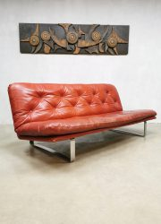 Vintage Dutch design leather sofa bank Artifort Kho Liang Ie