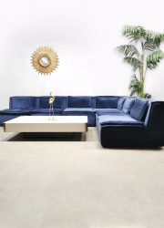 Vintage design velvet modular sofa lounge bank night blue