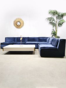 Vintage design velvet modular sofa lounge bank night blue