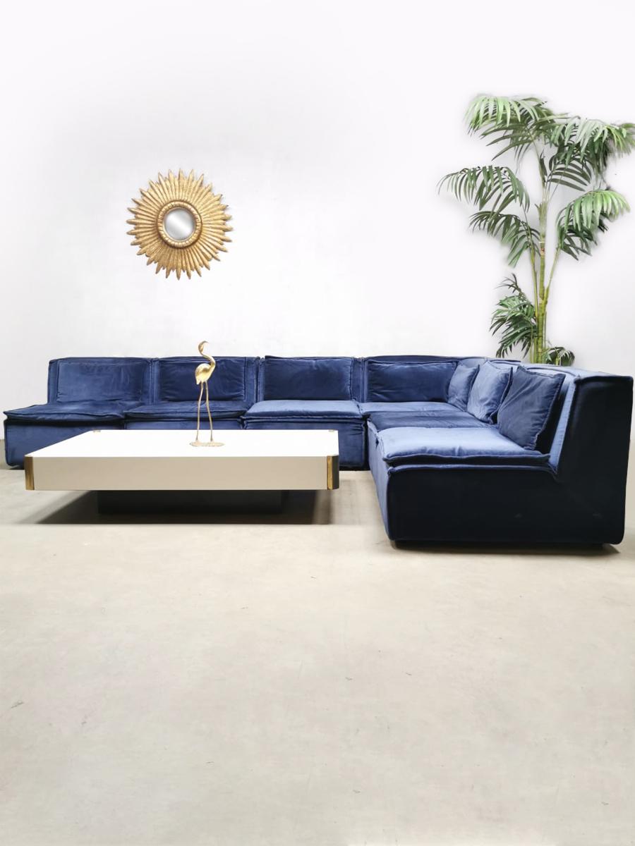 Blauwe Design Bank.Vintage Design Velvet Modular Sofa Lounge Bank Night Blue