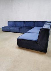 Blauwe velvet modulaire vintage bank modular sofa velvet sofa XXL Midcentury Modern