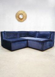 Blue vintage Midcentury Modern velvet fabric modular XXL sofa bank blauw modulair