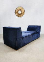 XXL Modular velvet sofa vintage modulaire bank Midcentury Modern blue blauw fabric
