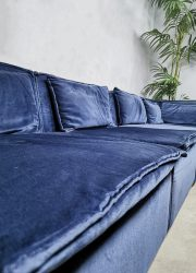Midcentury modern modular sofa blue vintage modulaire bank elementen XXL blauw velvet