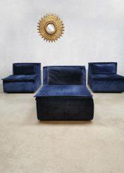 Vintage design modular sofa blue velvet fabric XXL modulaire bank blauw Midcentury Modern