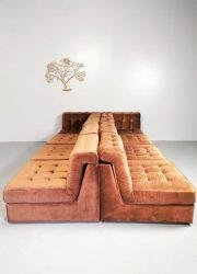 Brown velvet sofa modular vintage bruin modulaire lounge bank