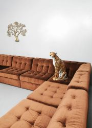 Vintage brown velvet modular sofa lounge bank modulair XXL