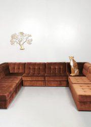Vintage velvet modular sofa lounge bank retro jaren 60 70