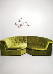 Velvet modular vintage modulaire sofa lounge set green groen