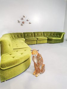 Vintage velvet green modular sofa modulair lounge bank 'Green spirit'
