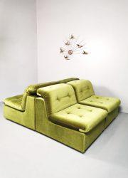 Groen velvet green sofa lounge bank elementen modular vintage