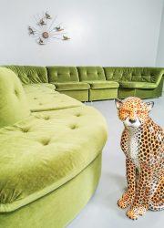 Green modular groen modulaire elementen lounge bank sofa velvet vintage groen