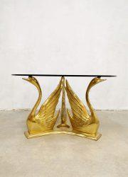 seventies coffee table brass swan zwanen salontafel goud messing