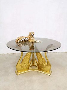 Vintage brass swan coffee table zwanen trio salontafel cocktail table Maison Jansen style