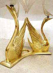brass swan coffee table hollywood regency gold salontafel zwanen