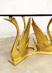 vintage brass swan coffee table salontafel trio zwanen glass top