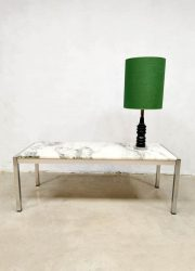 vintage design coffee table marmer stone chrome base