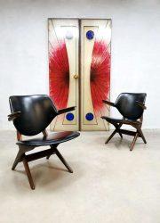 Vintage Webe scissor Pelican armchairs lounge fauteuil Louis van Teeffelen