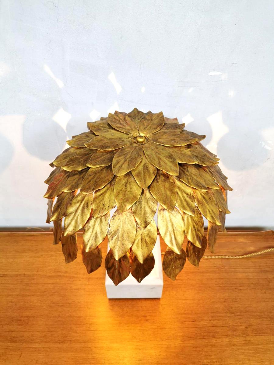 Midcentury Design Gold Gilded Table Lamp Tafel Lamp