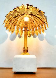 vintage palm tree lamp gold hollywood regency maison jansen style