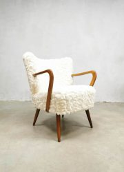 vintage midcentury cocktail chair fluffy lounge stoel