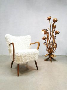 Midcentury armchair lounge cocktail stoel 'white Teddy'