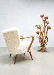 vintage teddy cocktail chair faux fur