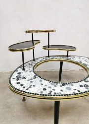vintage design mosaic plant stand planter tile