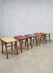 Vintage set fifties sixties stools ottoman voetenbank