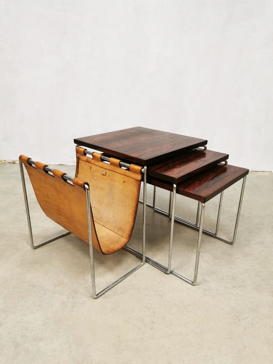 3 Vintage Bijzettafeltjes.Vintage Design Nesting Tables Mimiset Brabantia Bijzettafeltjes