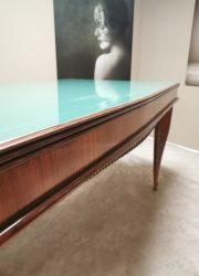 Eetkamerset tafel stoelen diningset Italiaans Italian design vintage Paolo Buffa messing wood glass
