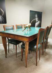 Vintage Italian design glass diningset Paolo Buffa tafel eetkamerstoelen