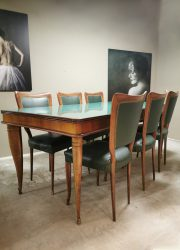 Vintage dining set eetkamerstoelen Italian vintage design Paolo Buffa eetkamer set tafel Italiaans design