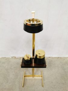 Vintage brass floor ashtray stand sigaretten standaard Modernist