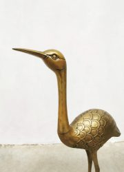 midcentury design crane birds statue brass gold decoration kraanvogels